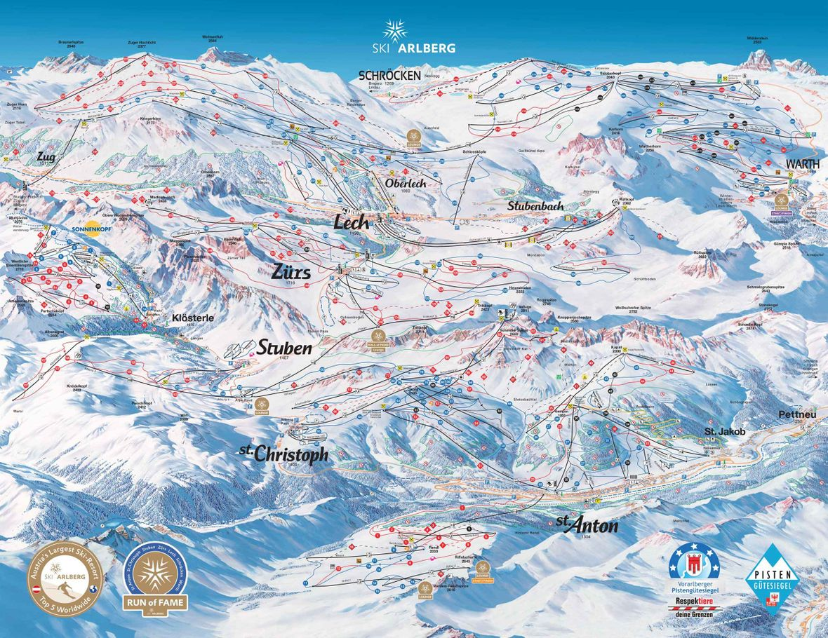 Pistenplan, Ski Arlberg