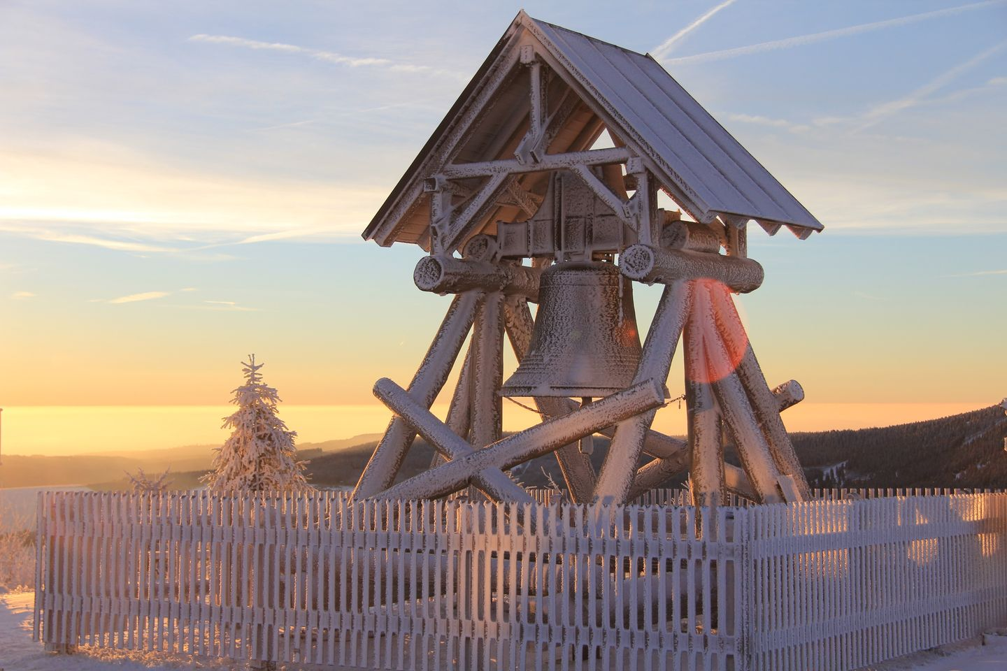 Fichtelberg Ore Mountains peace bell sunrise