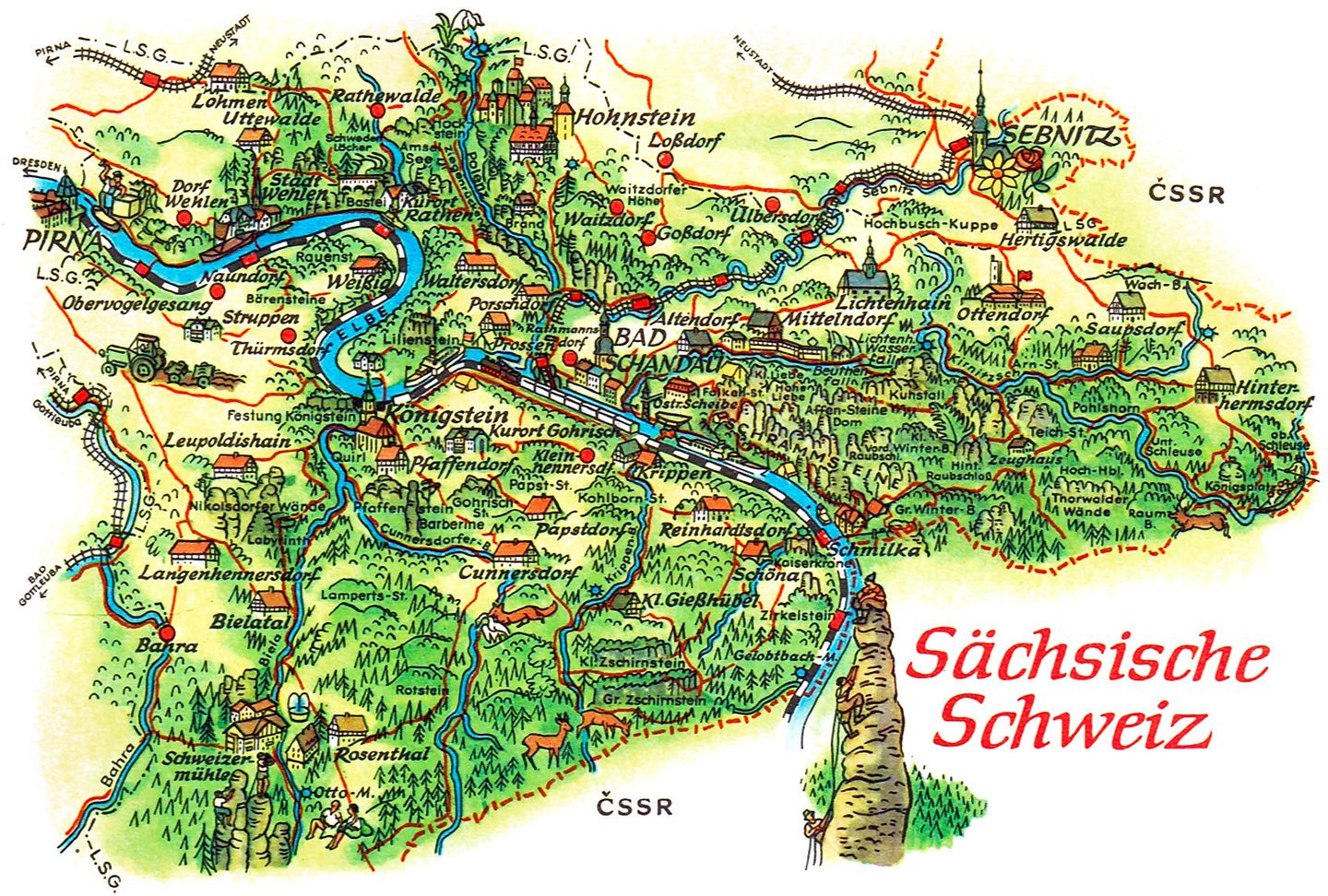 Saxon Switzerland map