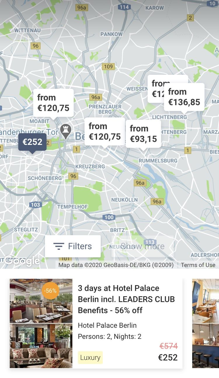 New hotels and deals maps