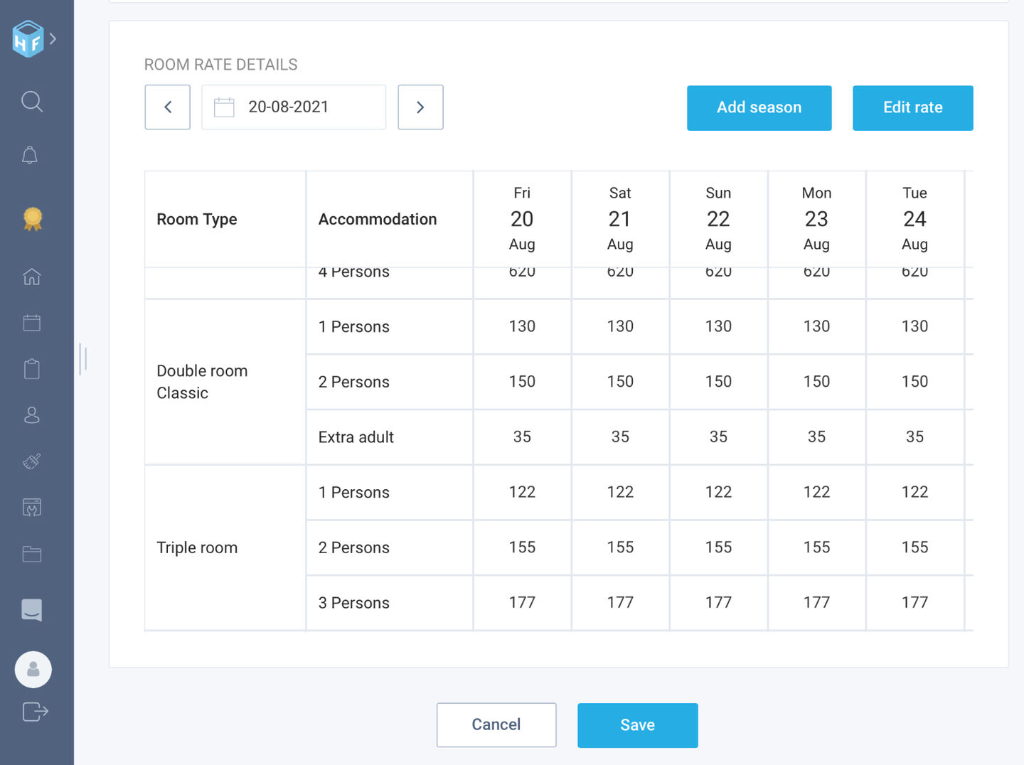 Improved room rate view: improved usability on tablets and mobile devices