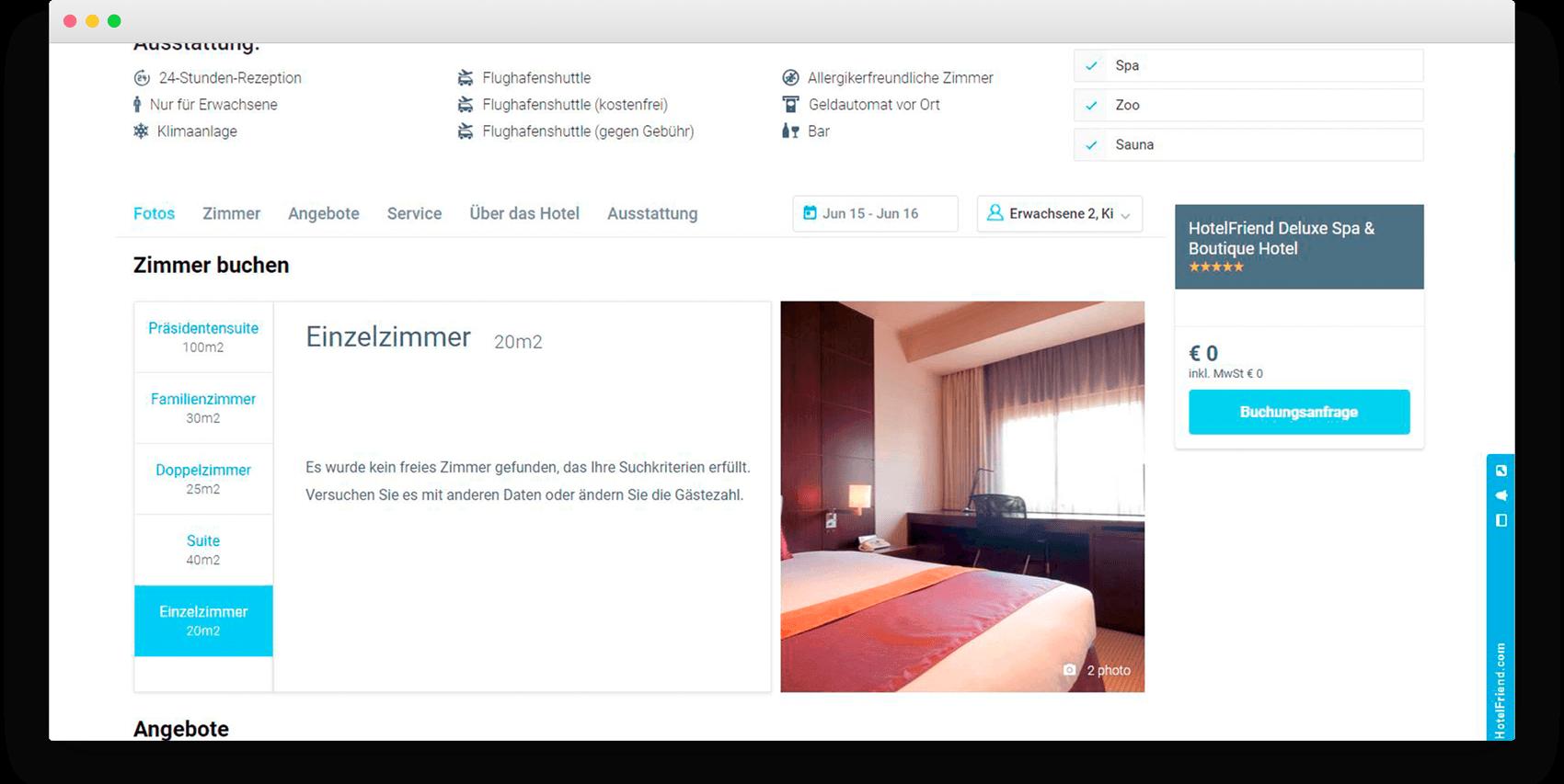 Alle Zimmertypen mit aktuellen Preisen für jedes Datum angezeigt