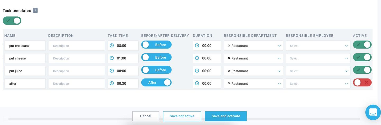 Service edit page: