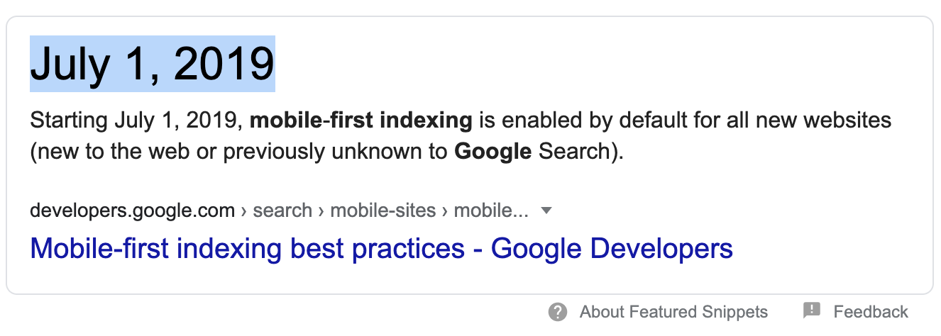 mobile-first-indexing date