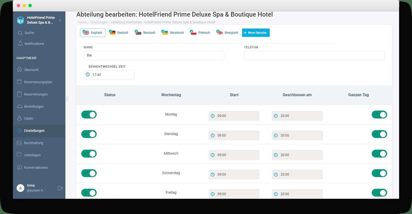 Übersetzung von Abteilungen hinzugefügt - HotelFriend Portal