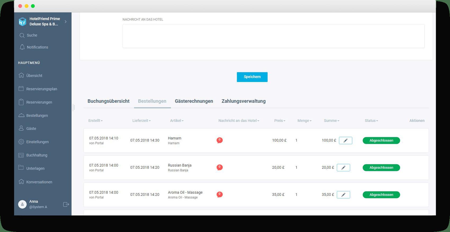 Jeder Tab auf der Gästeseite (Bestellungen) - HotelFriend Portal