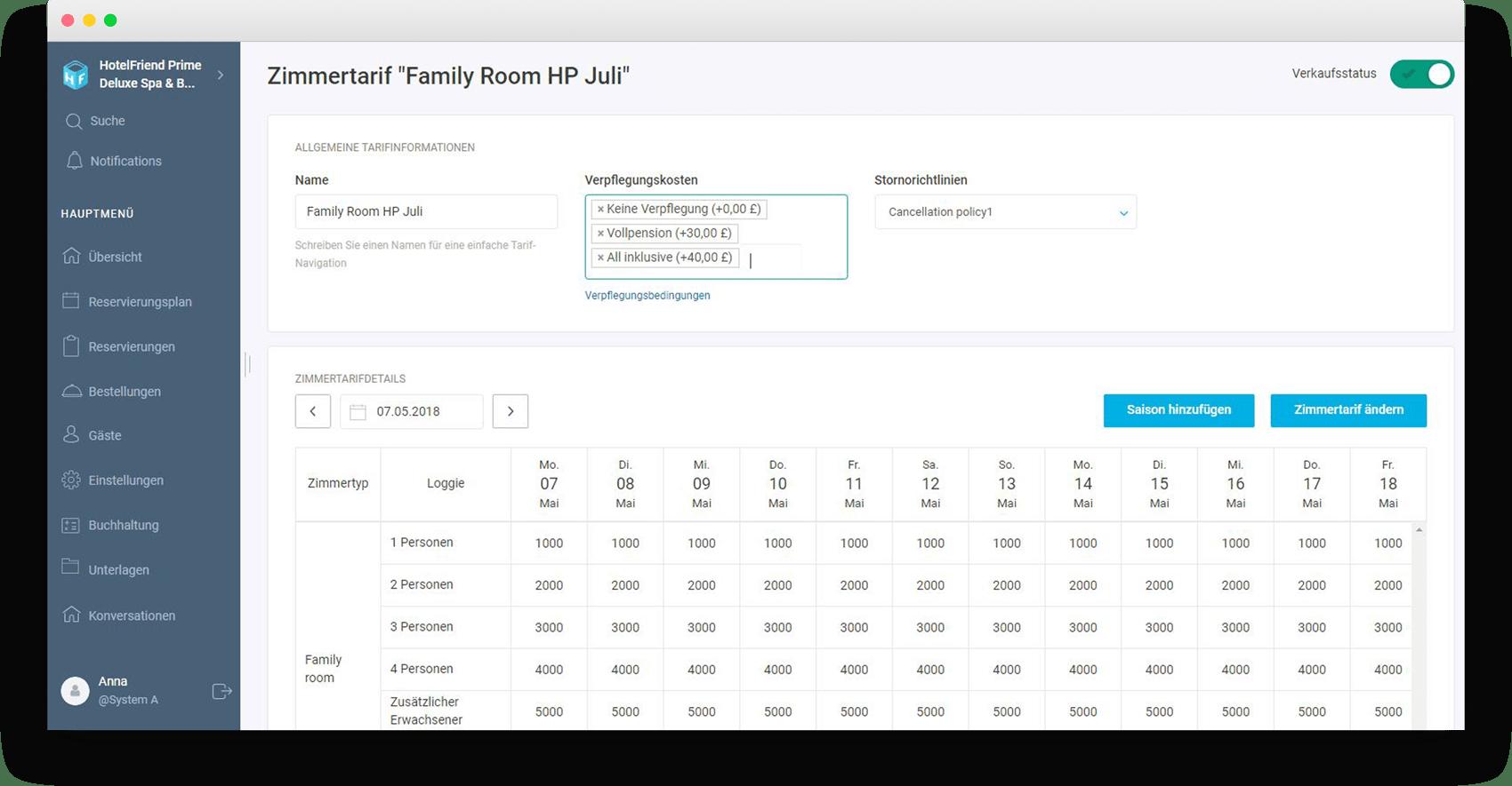 Möglichkeit, Stornierungs- und Vorauszahlungsbedingungen in den Zimmerpreisen zu wählen - HotelFriend Portal