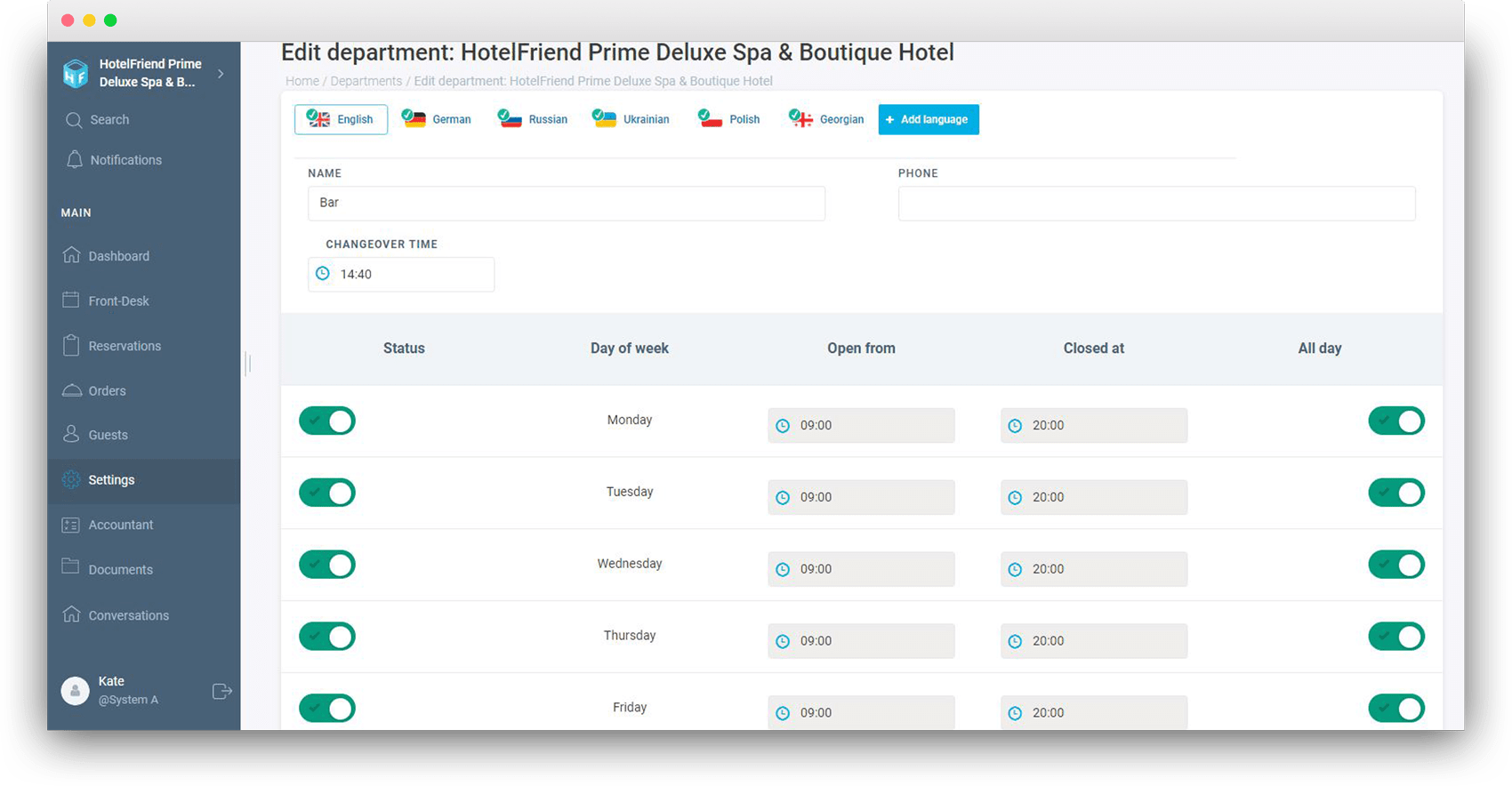 Added Department translation - HotelFriend Portal