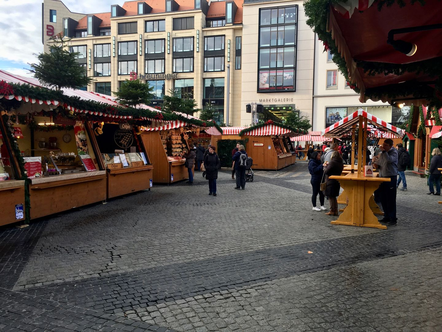 Leipzig Christmas Market rows view