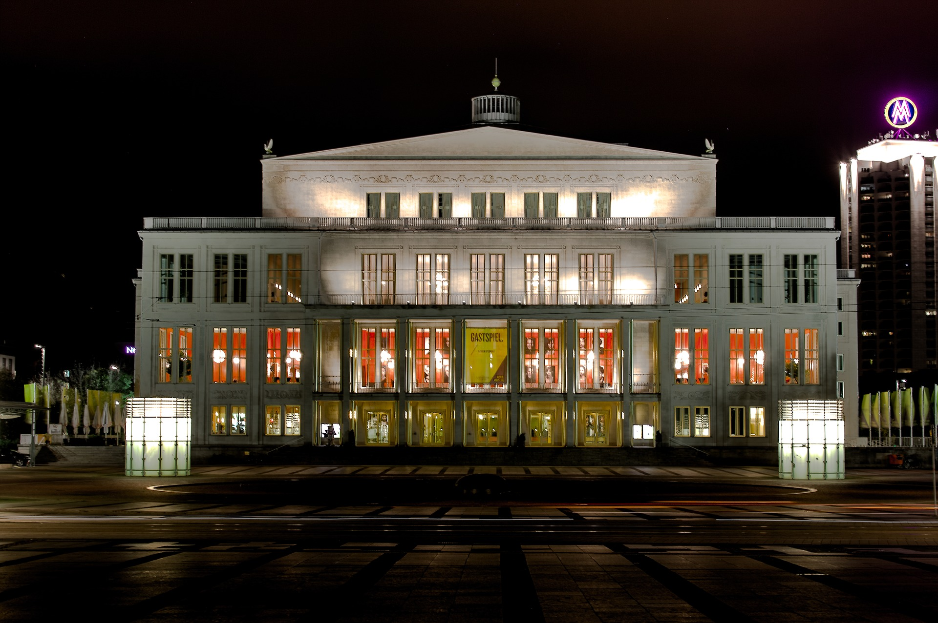 Leipzig Opera in the evening