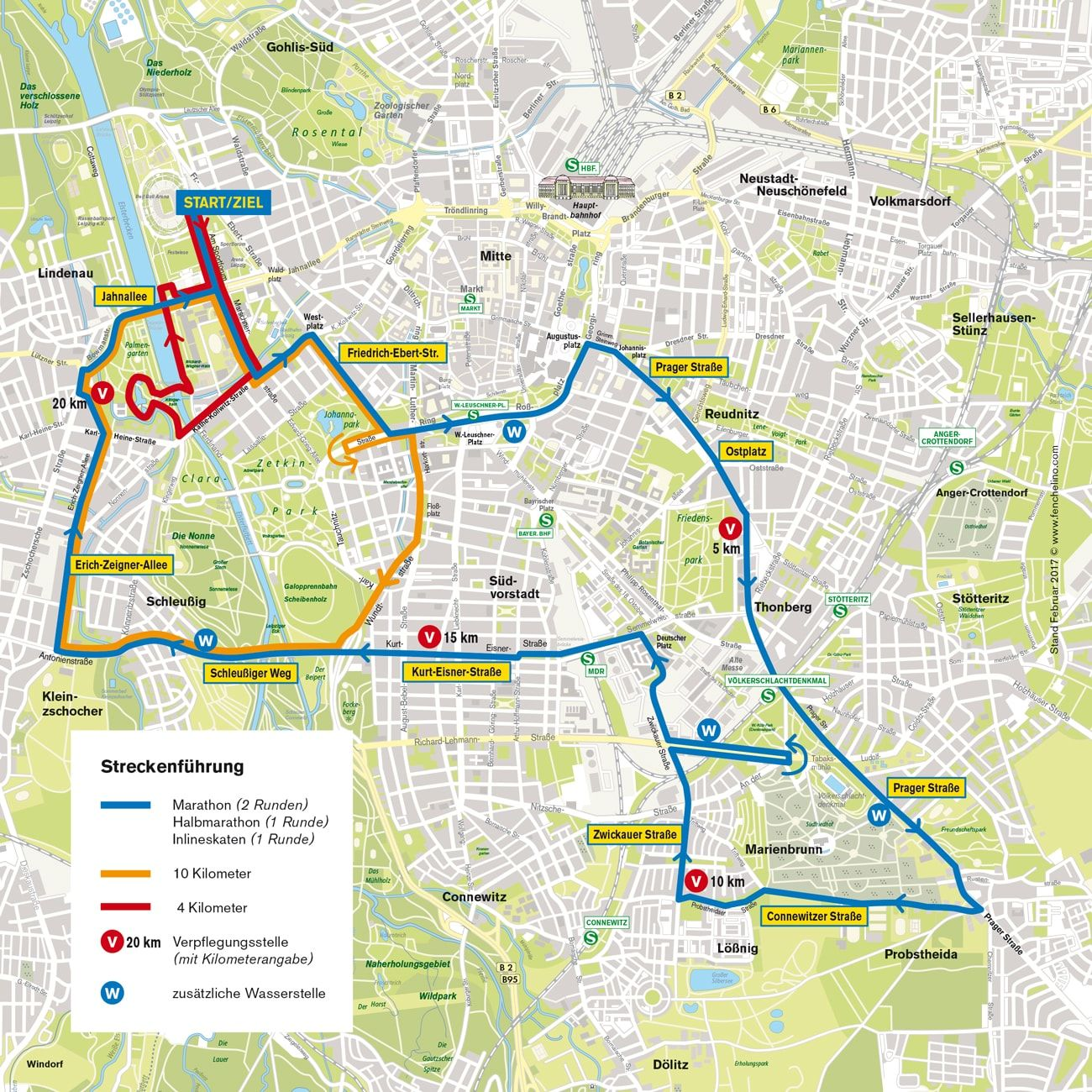 Route map of the Leipzig Marathon 2018