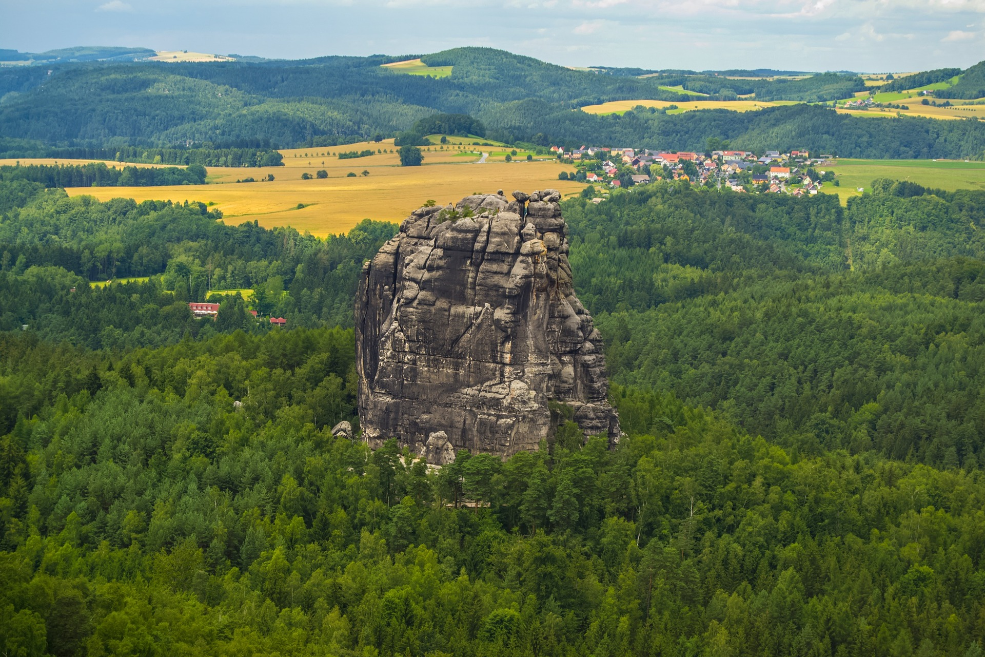 Mountain hiking in bavarian forest