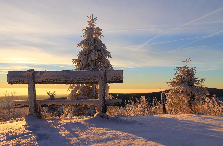 Fichtelberg Sonnenaufgang im Erzgebirge